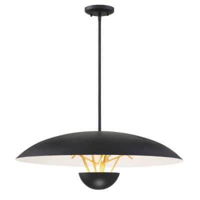 Sun Core 75-Watt Equivalence Integrated LED Sand Black with Honey Gold Pendant