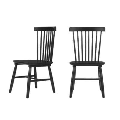 Black Windsor Chair Solid Wood Dining Side Chairs (Set of 2) (19.5 in. W x 35 in. H)