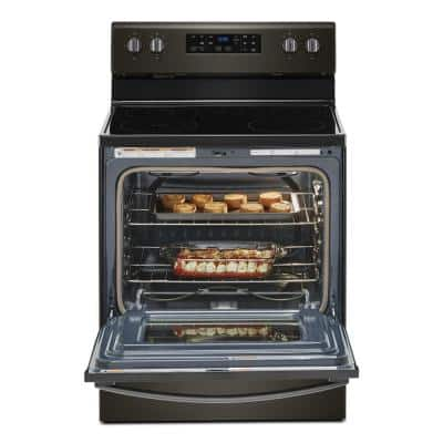 30 in. 5.3 cu. ft. Electric Range with 5-Elements and Frozen Bake Technology in Black Stainless