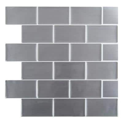6-Pieces 10 in. x 10 in. Silver Truu Design Self-Adhesive Peel and Stick Accent Wall Tiles