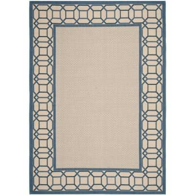 Martha Stewart Azurite Blue 7 ft. x 10 ft. Border Indoor/Outdoor Area Rug
