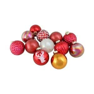 3 in. Multi-Colored Multi-Textured Decorated Ornament Set (12-Pack)
