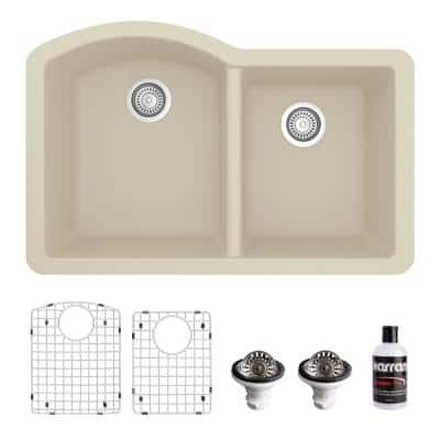 QU-610 Quartz/Granite 32 in. Double Bowl 60/40 Undermount Kitchen Sink in Bisque with Bottom Grid and Strainer