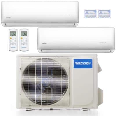 Olympus 24,000 BTU 2 Ton 2-Zone Ductless Mini Split Air Conditioner and Heat Pump with 25 ft. Install Kit - 230V/60Hz