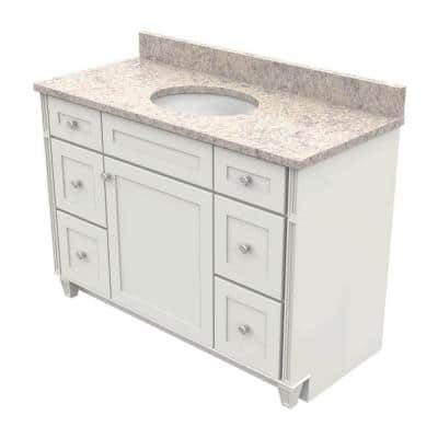 Kraftmaid 48 In Vanity In Dove White With Natural Quartz Vanity Top In Shadow Swirl And White Basin Vc4821r6s3 Ssw 7131sn Ad1m4 Dwm The Home Depot