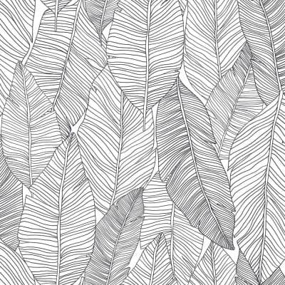 Thuy Grey Banana Leaves Paper Strippable Wallpaper (Covers 56.4 sq. ft.)