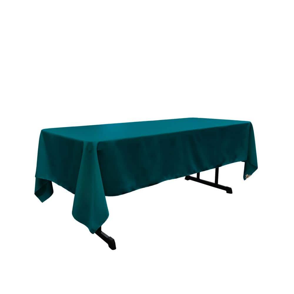 La Linen Polyester Poplin 60 In X 120 In Dark Teal Rectangular Tablecloth Tcpop60x120 Tealdrkp82 The Home Depot