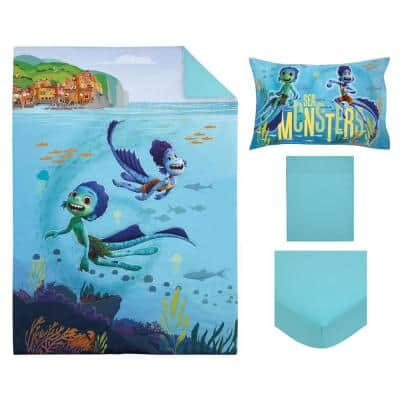 Luca Sea Monsters Are Real 4-Piece Ocean Blue, Aqua, Orange and Green Toddler Crib Bedding Set