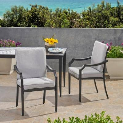 San Diego Matte Black Removable Cushions Aluminum Outdoor Dining Chair with Light Grey Cushion (2-Pack)