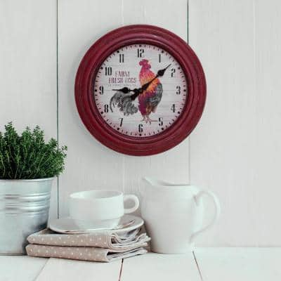 12 in. Round Distressed Red Rooster Quartz Analog Wall Clock