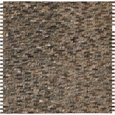 Emperador Split Face 12 in. x 12 in. x 10 mm Polished Marble Mosaic Tile (1 sq. ft.)