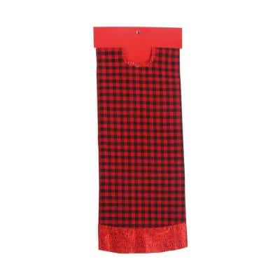 48 in. White Black and Red Plaid Christmas Tree Skirt