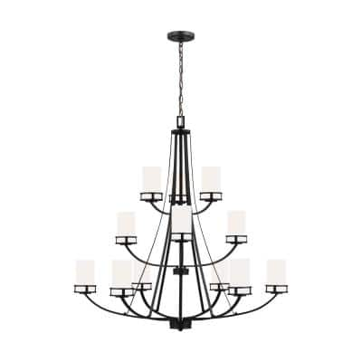 Robie 12-Light Midnight Black Craftsman Transitional Empire Chandelier with Etched White Glass Shades and LED Bulbs