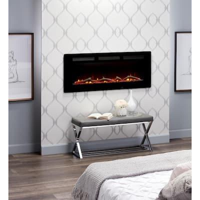 Sierra 48 in. Wall/Built-in Linear Electric Fireplace in Black