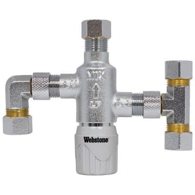 3/8 in. Chrome Plated Forged DZR Brass Thermostatic Mixing Valve with Integral Check Valves Elbow and Tee Fittings
