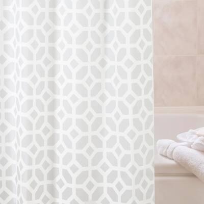 "Medium Weight Decorative PEVA Shower Curtain Liner, 70"" W x 72"" H, Geometric Frost"