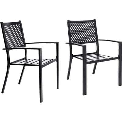 Stackable Metal Patio Outdoor Dining Armrest Chair Black (2-Pack)
