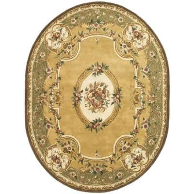 Classic Light Gold/Green 8 ft. x 10 ft. Oval Border Area Rug