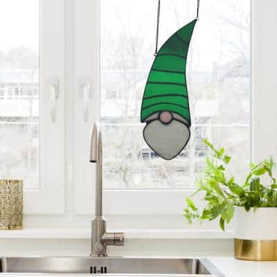 Green Garden Gnome Stained Glass Window Panel
