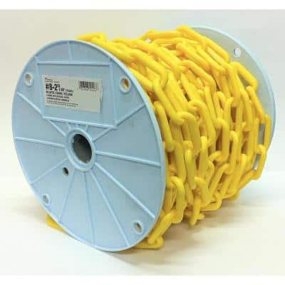 2 in. x 65 ft. Light-Duty Yellow Plastic Barrier Chain - Reeled