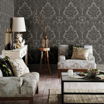 Shadow Grey Damask Paper Strippable Roll Wallpaper (Covers 56.4 sq. ft.)