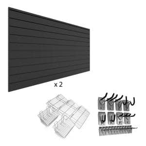 PVC Slatwall 8 ft. x 8 ft. Charcoal Ultimate Bundle (25-Piece)