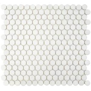 Hudson Penny Round Matte White 12 in. x 12-5/8 in. x 5 mm Porcelain Mosaic Tile (10.74 sq. ft. / case)