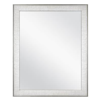 25 in. W x 31 in. H Framed Rectangular Anti-Fog Bathroom Vanity Mirror in Pewter