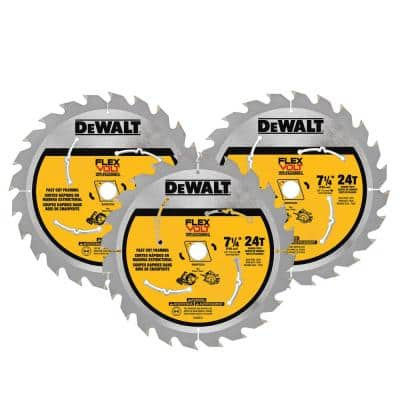 FLEXVOLT 7-1/4 in. 24-Teeth Carbide-Tipped Circular Saw Blade (3-Pack)
