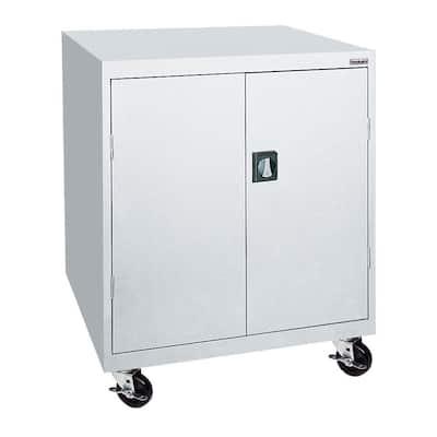 48 in. H x 46 in. W x 24 in. D Mobile Steel Transport Cabinet in Dove Gray