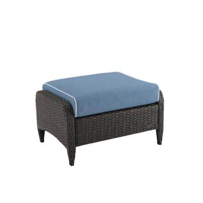Kiawah Wicker Outdoor Ottoman with Blue Cushions