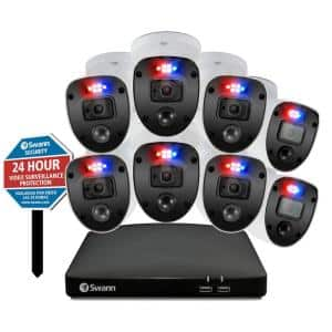 Enforcer 8-Channel 1080p 1TB DVR Surveillance System with 8 Police-Style Flashing light cameras and Yard Stake