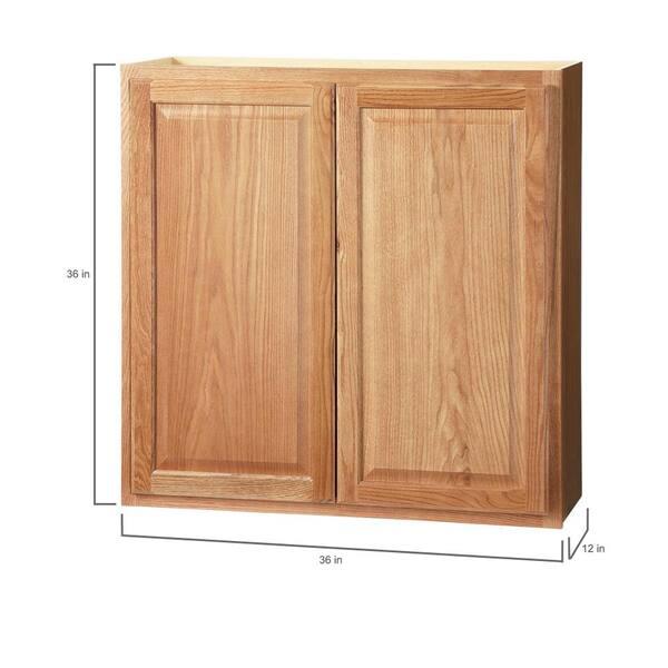Hampton Bay Hampton Assembled 36x36x12 In Wall Kitchen Cabinet In Medium Oak Kw3636 Mo The Home Depot