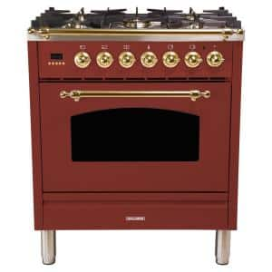 30 in. 3.0 cu. ft. Single Oven Dual Fuel Italian Range with True Convection, 5 Burners, Brass Trim in Burgundy