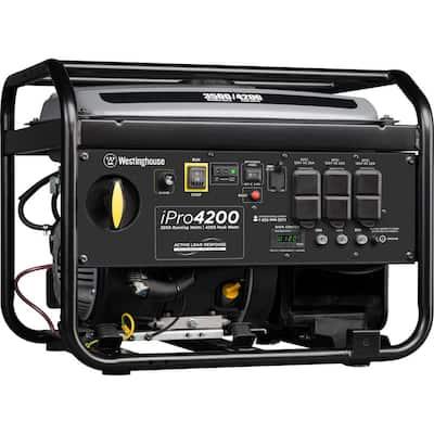 iPro4200 4,200/3,500 Watt Gas Powered Portable Industrial Inverter Generator with OSHA Compliant GFCI Protection