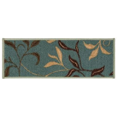 Contemporary Leaves Design Seafoam 9 in. x 26 in. Rubber Back Stair Tread Cover (Set of 7)