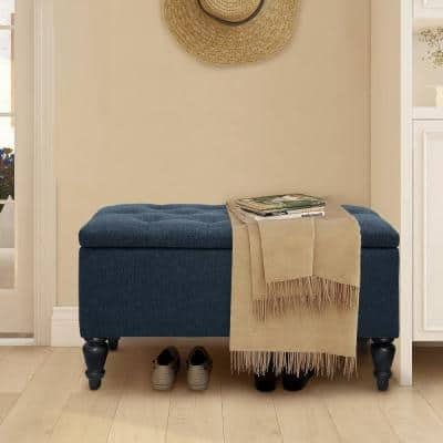 29 in. Navy Linen Fabric Upholstered Flip Top Tufted Storage Bench
