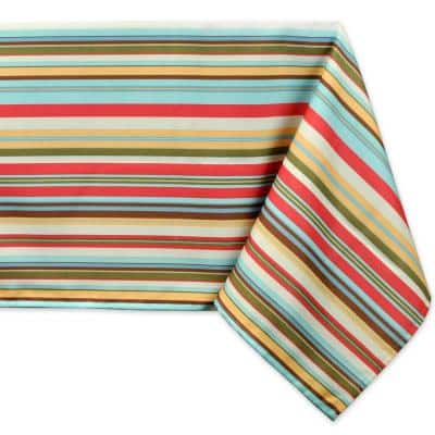 Outdoor 60 in. x 120 in. Summer Stripe Polyester Tablecloth