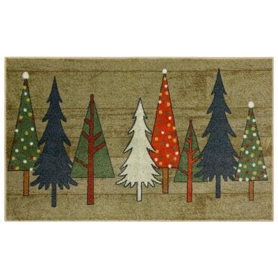 Wooden Holiday Trees Multi 2 ft. 6 in. x 4 ft. 2 in. Holiday Area Rug