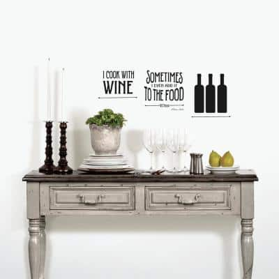 Black Lettering Wine Topography Peel and Stick Wall Decals (2-Sheets)