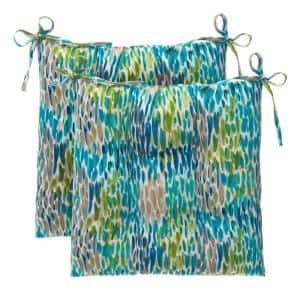 Peacock Feathers Blue Square Outdoor Tufted Seat Cushion (2-Pack)