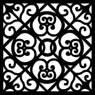 Scrolls 0.3 in. x 35 in. x 35 in. Charcoal Recycled Plastic Wall Art