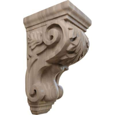 4 in. x 3-1/2 in. x 7 in. Unfinished Wood Walnut Small Traditional Acanthus Corbel
