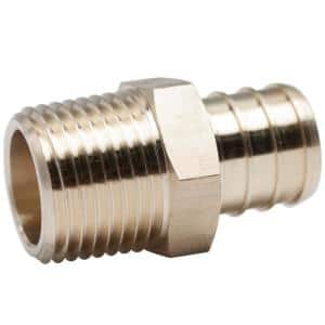 3/4 in. x 1/2 in. Lead Free Brass PEX Barb x MIP Adapter Fitting (20-Pack)