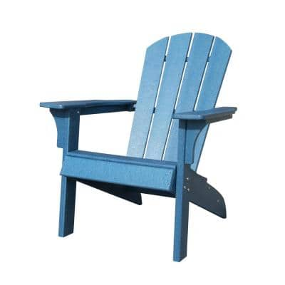 Waller 37 in. Blue Casual Plastic Adirondack Chair with Fan-Shaped Backrest and Armrests