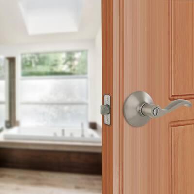 Naples Satin Nickel Bed/Bath Privacy Door Lever