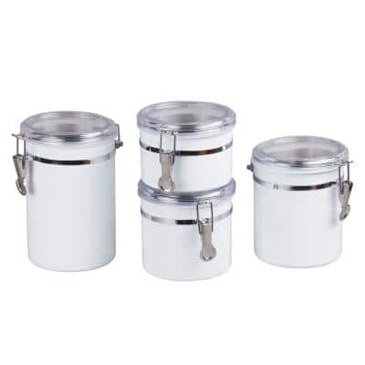 Set of 4-Pieces White Stainless Steel Canister Storage Container with Air Tight Lid and Locking Clamp