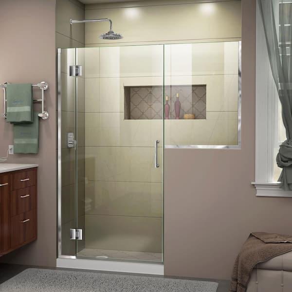 Dreamline Unidoor X 66 To 66 5 In X 72 In Frameless Hinged Shower Door In Chrome D1243636 01 The Home Depot