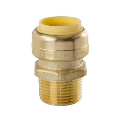 3/4 in. x 3/4 in. Brass Male Pipe Push-Fit Thread Coupling