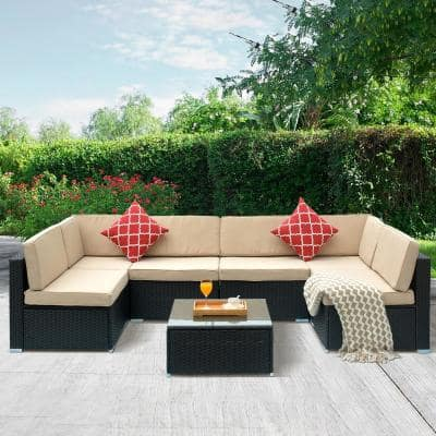 7 Piece Patio Conversation Sets Outdoor Lounge Furniture The Home Depot